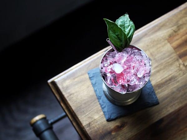 Jar of basil, cranberry and mint julep | GrowUp Vertical Farming