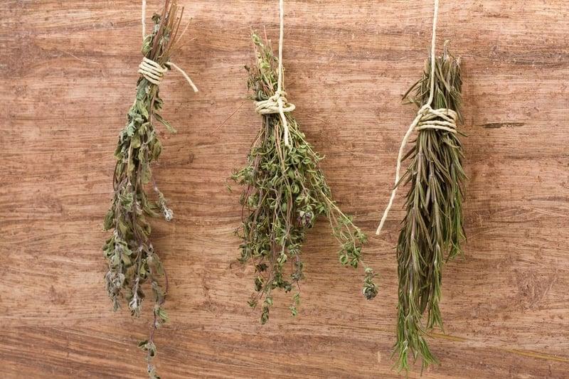 Dried herbs hanging upside down