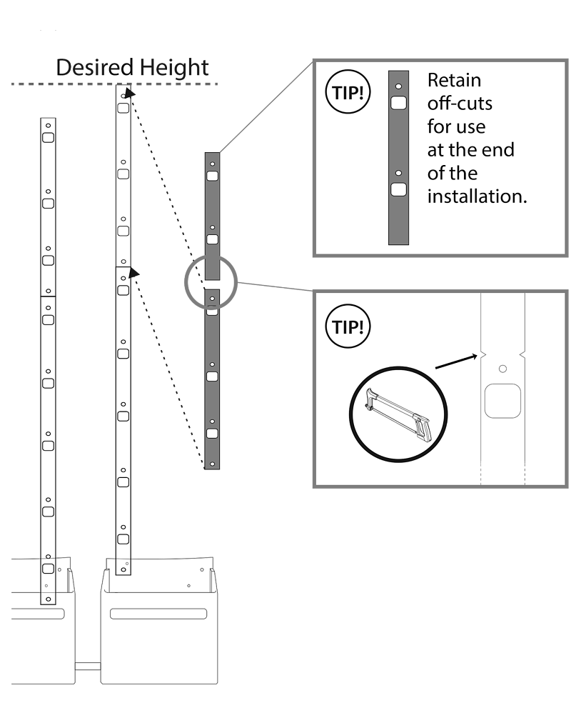Diagram of stacking the rails