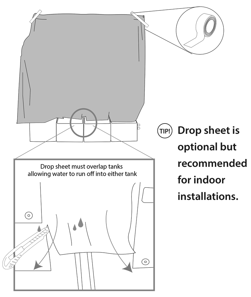 Diagram of mounting the drop sheet