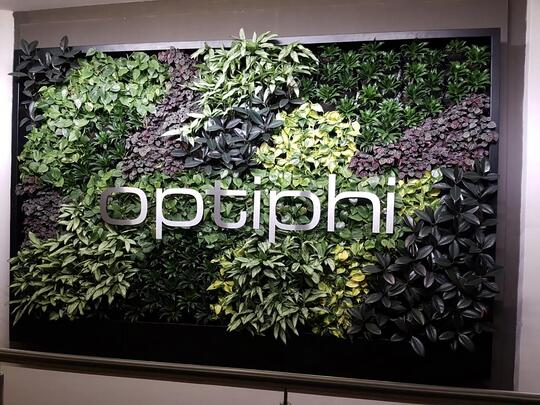 Green wall with logo.