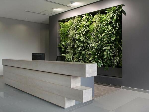 office with vertical garden reception